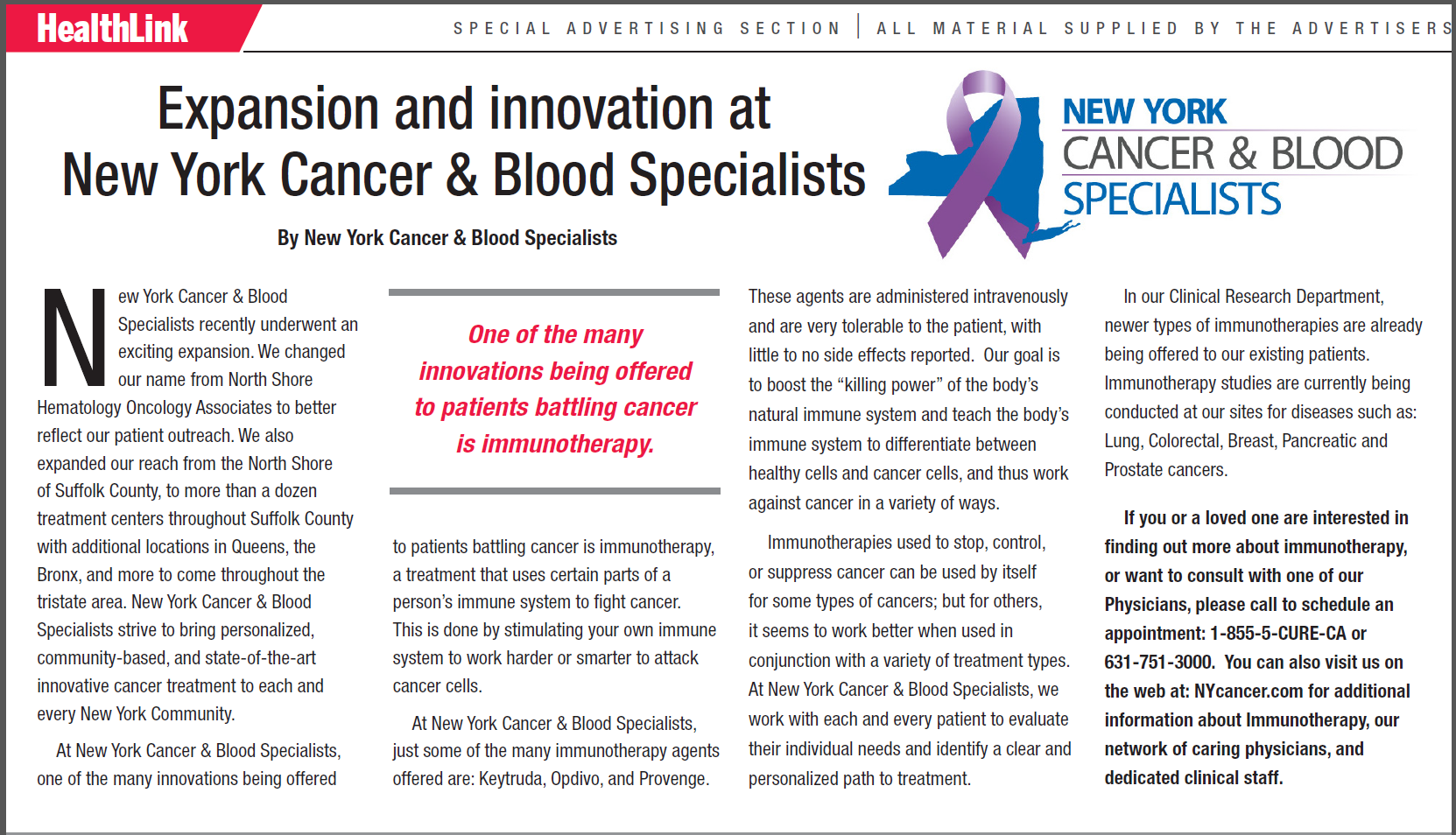 Expansion and Innovation at New York Cancer & Blood Specialists Post Image
