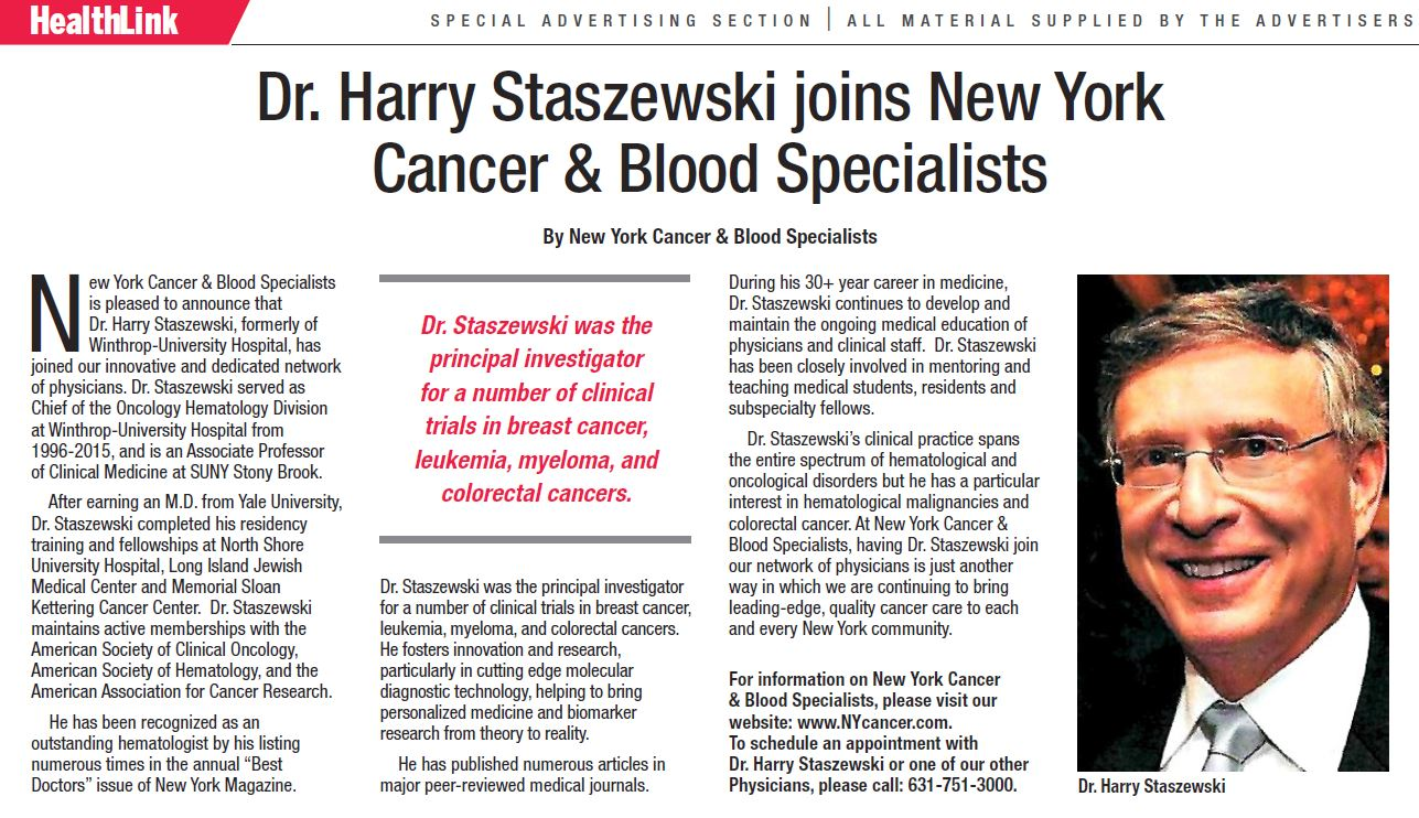 Dr. Harry Staszewski joins New York Cancer & Blood Specialists Post Image